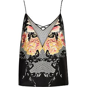 Top de pyjama caraco noir à fleurs