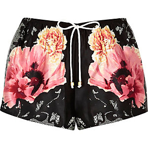 Black floral pajama shorts