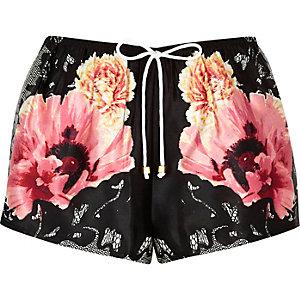 Short de pyjama noir à fleurs