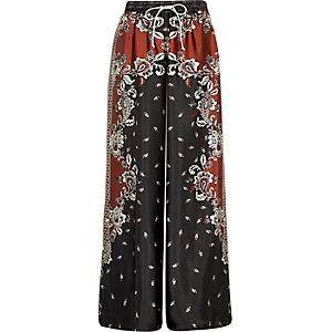 Marineblaue Pyjama-Hose mit Blumenmuster
