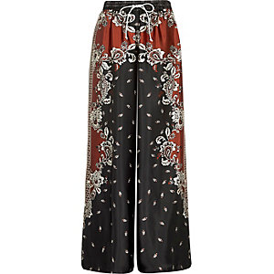 Navy floral print palazzo pajama pants