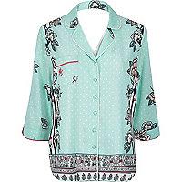 Blue floral print pyjama shirt
