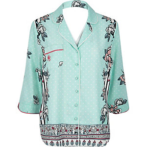 Blue floral print pajama shirt