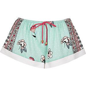 Blue floral print pajama shorts