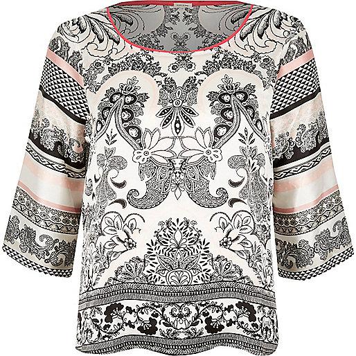 White paisley print satin pajama top