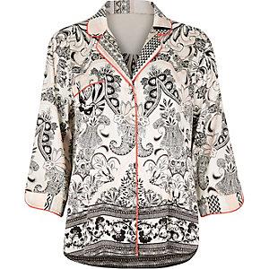 White paisley print pajama shirt