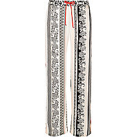 White paisley print satin pajama bottoms