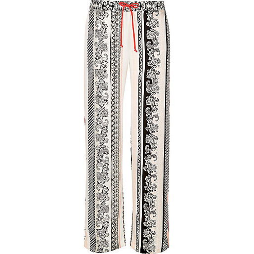 White paisley print satin pajama bottoms