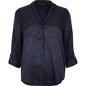 Navy button-front pajama shirt