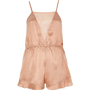 Pink lace panel silky romper