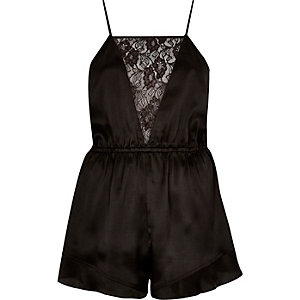 Black lace panel silky romper