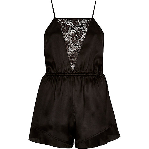 Black lace panel silky romper