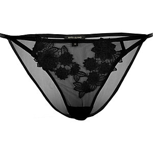 Black mesh floral appliqué knickers