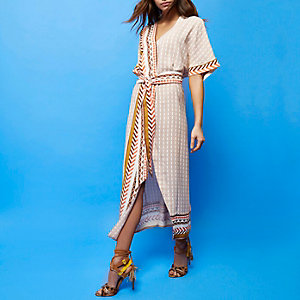 RI Studio beige print wrap dress