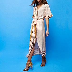 RI Studio beige print wrap dress