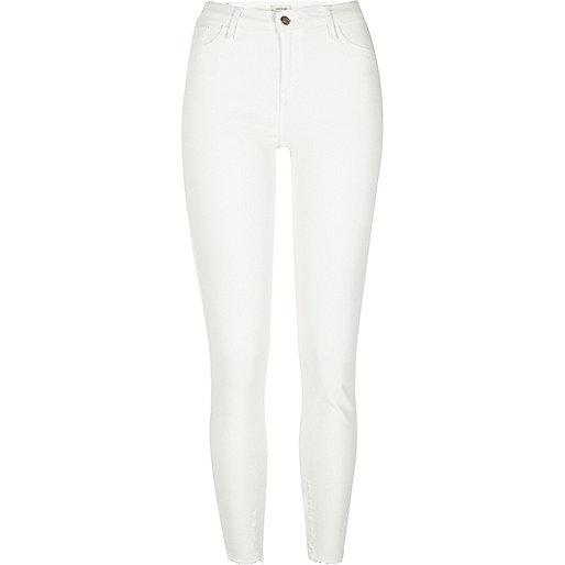 White chewed hem Amelie super skinny jeans