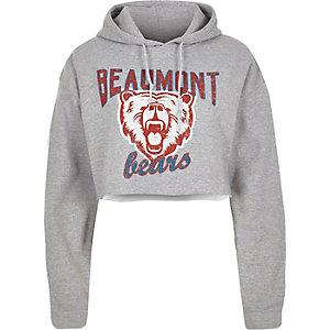 Grey cropped varsity-print hoodie