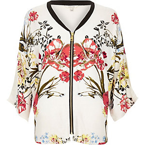 Cream floral print slouchy zip shirt