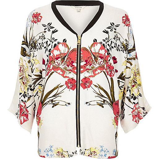 Chemise à fleurs crème ample zippée