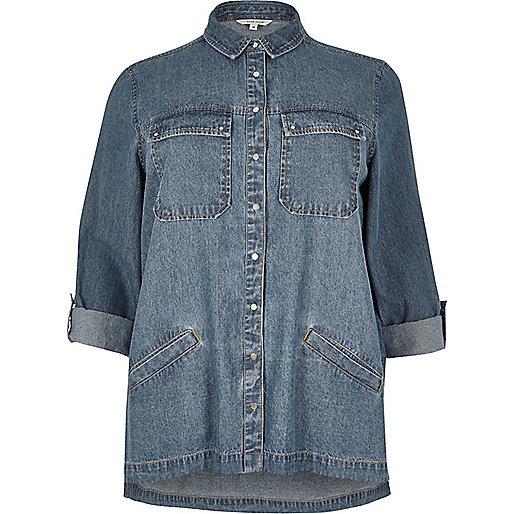 RI Plus – Blaues Jeans-Shacket