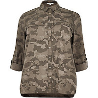 Plus green camo shacket