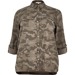 RI Plus green camouflage print shacket