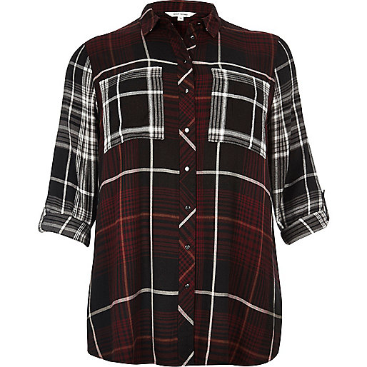 Plus red check shirt