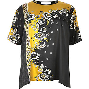 RI Plus yellow floral print silky top
