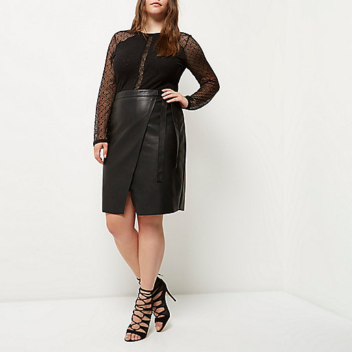 Plus black leather look wrap skirt