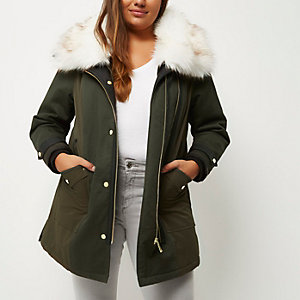 Plus khaki faux fur trim parka