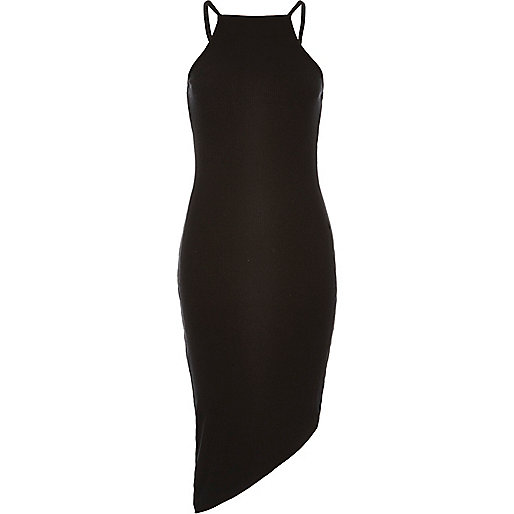 Black asymmetric cami dress