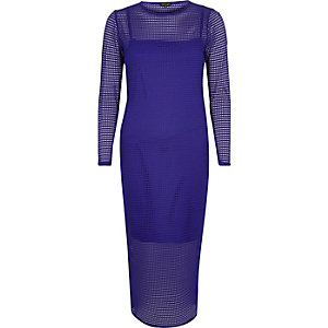 Blue mesh bodycon midi dress