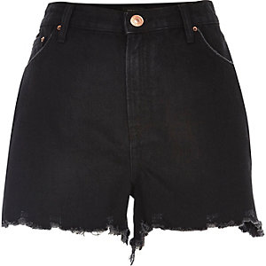 Black high rise denim shorts