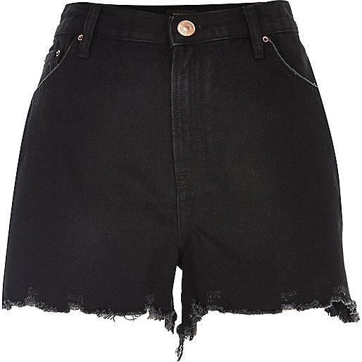 Black high rise denim shorts
