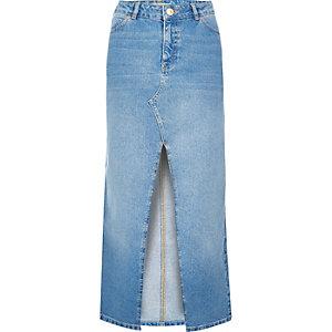 Light blue wash maxi denim skirt