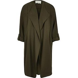 Khaki belted duster jacket