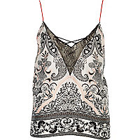 White paisley print lace trim cami pyjama top