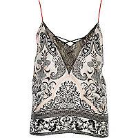 White paisley print lace trim cami pajama top