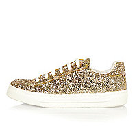 Gold glitter sneakers