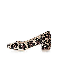 Ballerines en velours imprimé léopard marron