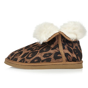 Brown leopard print slipper boots