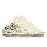 Cream snake print mule slippers