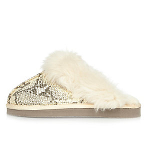 Cream snake print mule slippers