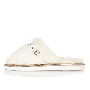 Cream faux fur gem mule slippers