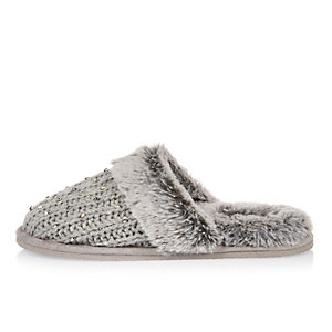Grey knit faux fur mule slippers