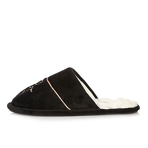 Black monogram lined mule slippers