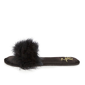 Black faux fur slipper mule