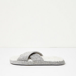 Grey crossover mule slippers