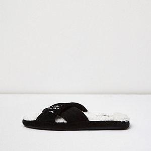 Black crossover mule slippers