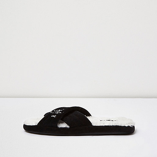 Black crossover mule slippers